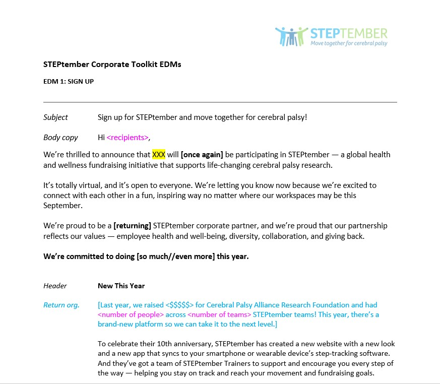 STEPtember email templates for Organization Champions